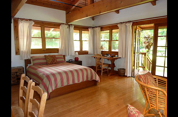 Bedroom #4 - Bamboo Master Suite - queen bed, sitting area, TV/DVD.  Opens to small deck.