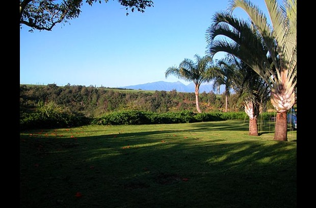Private yard looks across the gulch to the West Maui mountains
